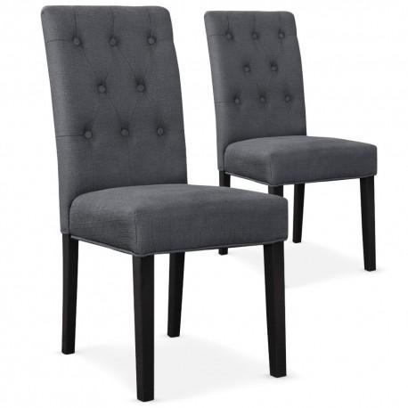Lot de 2 chaises Bouton Tissu Gris pieds noirs pas cher