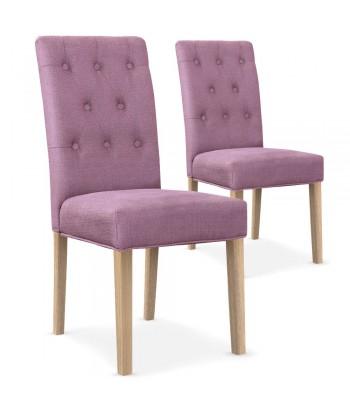 Lot de 2 chaises Bouton Tissu Violet pas cher