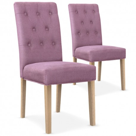 Lot de 2 chaises Bouton Tissu Violet