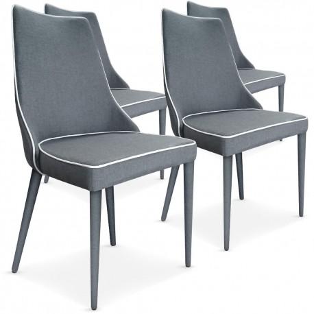 Lot de 4 chaises Scandinave Chic Tissu Gris pas cher