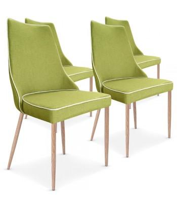 Lot de 4 chaises Malfoy Tissu Vert