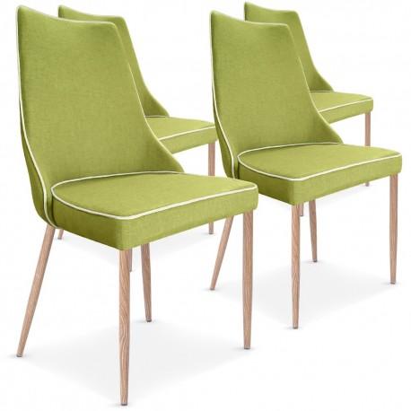 Lot de 4 chaises Malfoy Tissu Vert pas cher