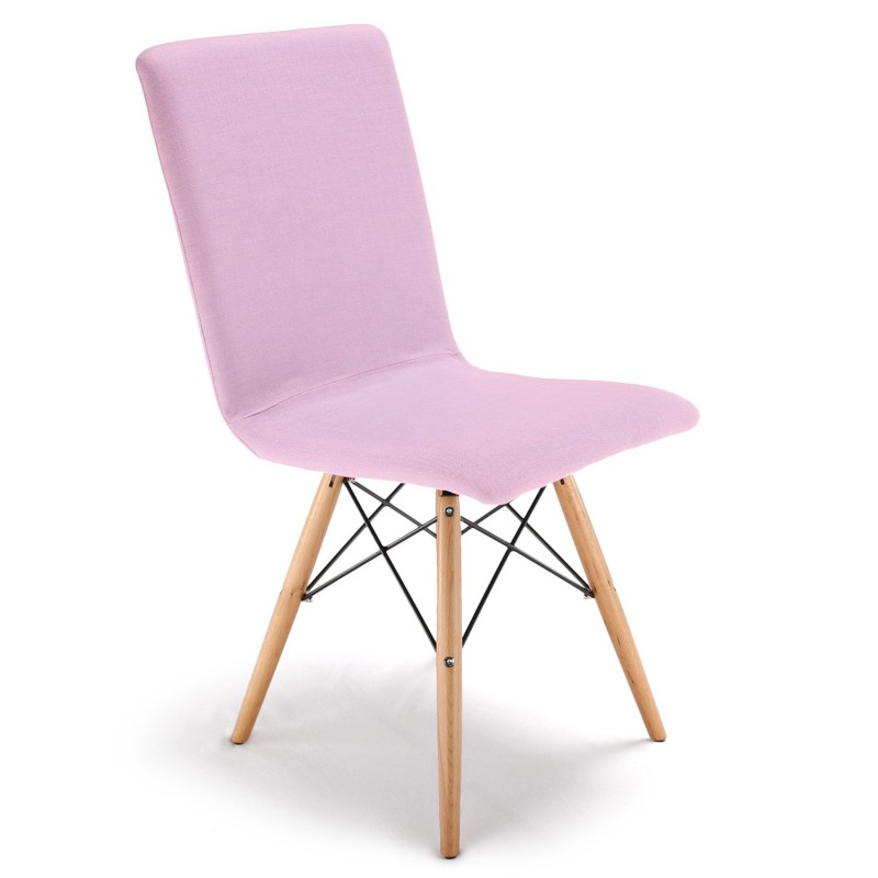Chaise design scandinave Tissu Rose pas cher - Scandinave Deco