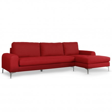 Canapé d'angle Scandinave Tissu Rouge