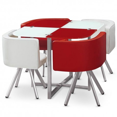 table scandinave et chaises vintage blanc et rouge