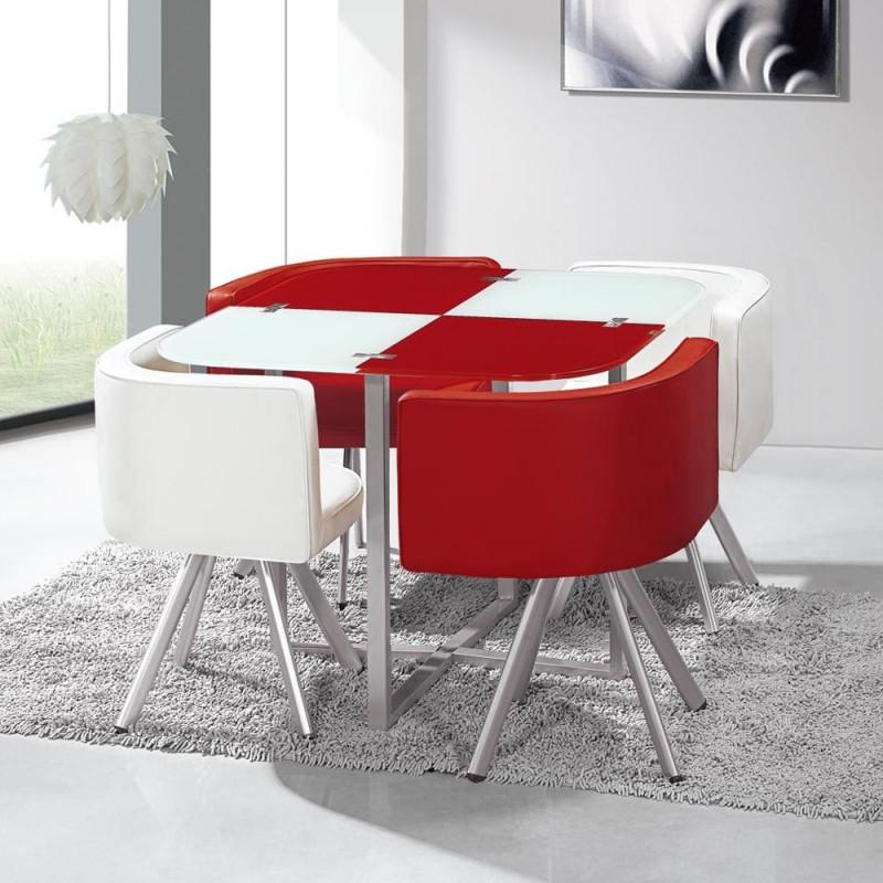 Table Scandinave et chaises Vintage Blanc et Rouge pas