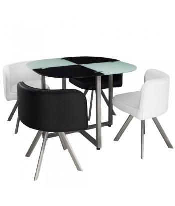 Table Scandinave et chaises Vintage 90 Blanc et Noir