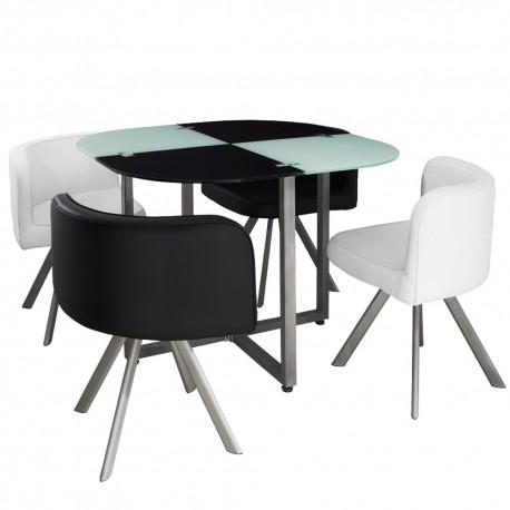 Table Scandinave et chaises Vintage 90 Blanc et Noir pas cher