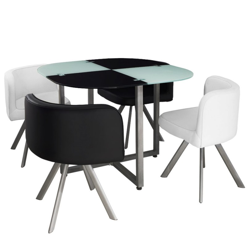 Table scandinave et chaises vintage 90 blanc et noir pas for Table avec chaise encastrable conforama