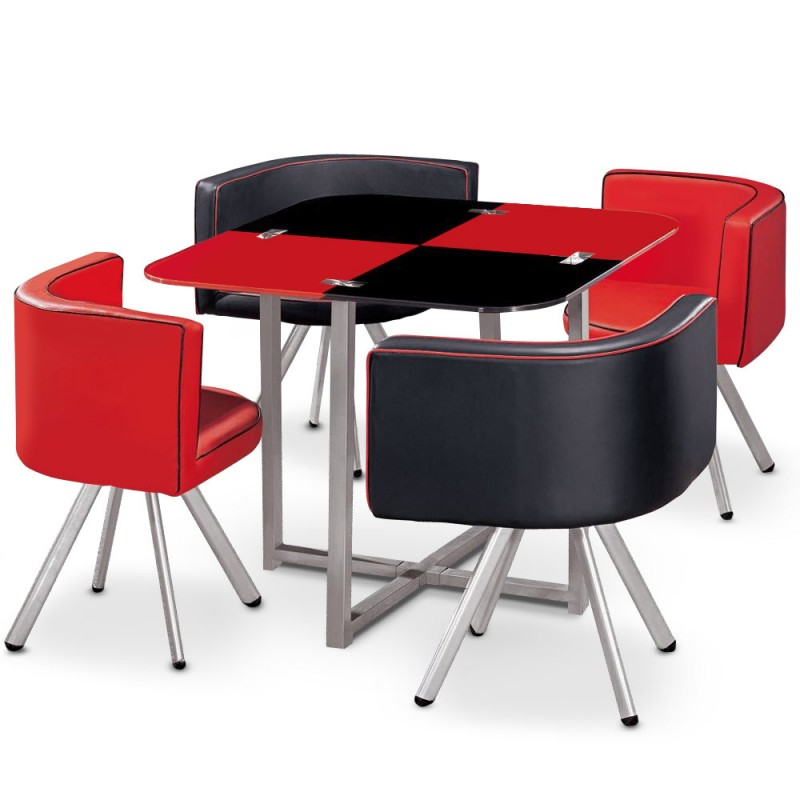table scandinave et chaises vintage 90 rouge et noir pas. Black Bedroom Furniture Sets. Home Design Ideas
