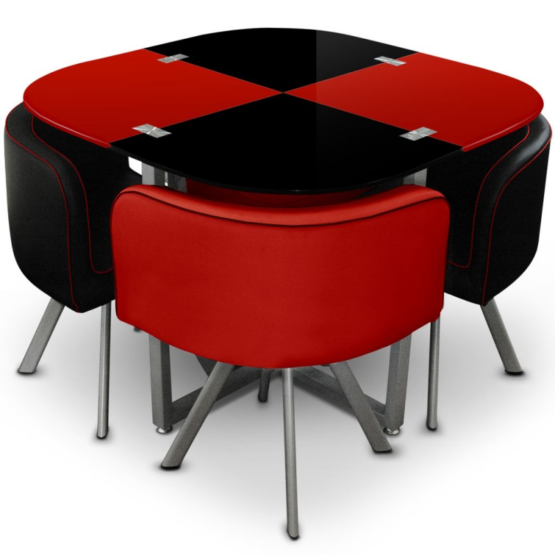 table scandinave et chaises vintage 90 rouge et noir pas cher scandinave deco. Black Bedroom Furniture Sets. Home Design Ideas