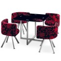 Table Scandinave et chaises Vintage 90 Fleurs Rouge et Noir