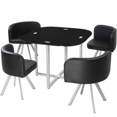 Table Scandinave et chaises Vintage 90 Noir pas cher