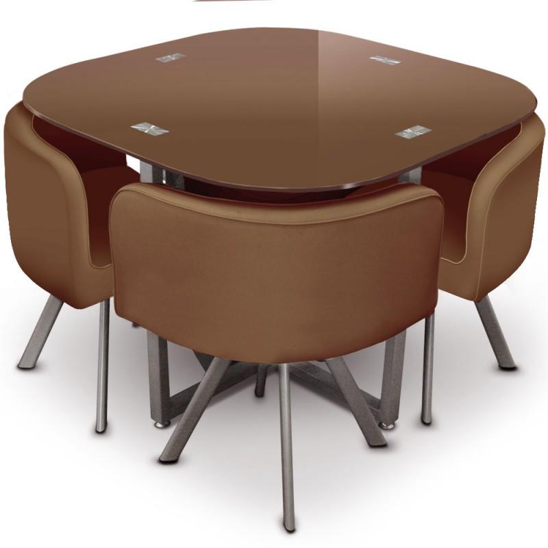 table scandinave et chaises vintage 90 marron pas cher. Black Bedroom Furniture Sets. Home Design Ideas