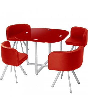 Table Scandinave et chaises Vintage 90 Rouge