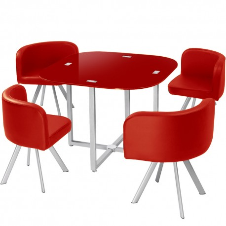 table scandinave et chaises vintage 90 rouge pas cher scandinave deco. Black Bedroom Furniture Sets. Home Design Ideas