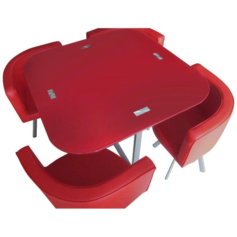 table scandinave et chaises vintage 90 rouge pas cher scandinave deco. Black Bedroom Furniture Sets. Home Design Ideas