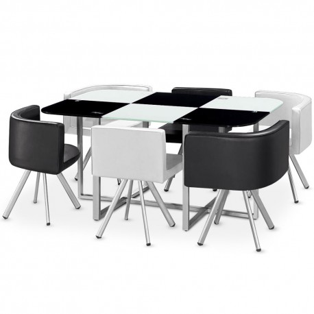 Table Scandinave Grand Format Bicolore Noir et Blanc pas cher