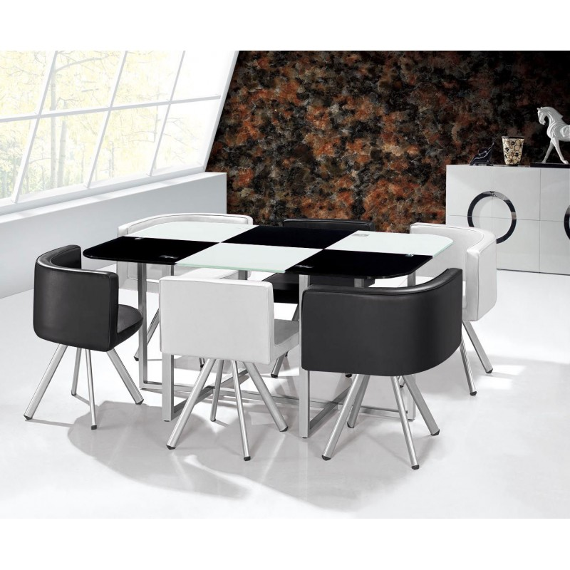 Table scandinave grand format bicolore noir et blanc pas for Table noir et blanc