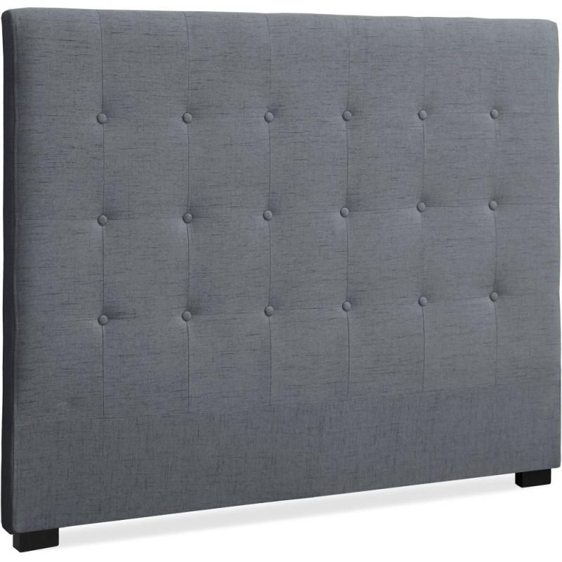 t te de lit matelass e 140cm tissu gris pas cher. Black Bedroom Furniture Sets. Home Design Ideas