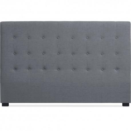 t te de lit matelass e 180cm tissu gris pas cher. Black Bedroom Furniture Sets. Home Design Ideas