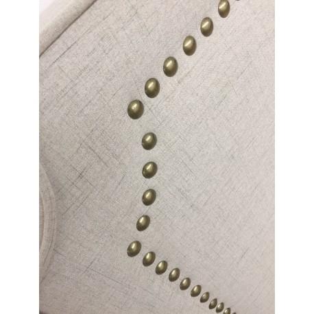 Tête de lit Cloutée 180cm Tissu Beige pas cher