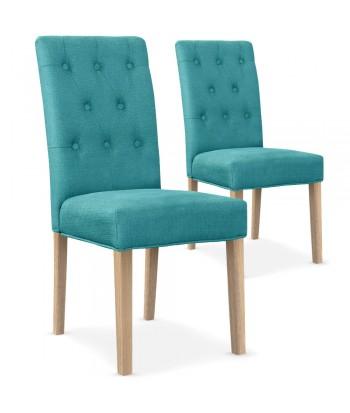 Lot de 2 chaises Bouton Tissu Bleu Turquoise pas cher