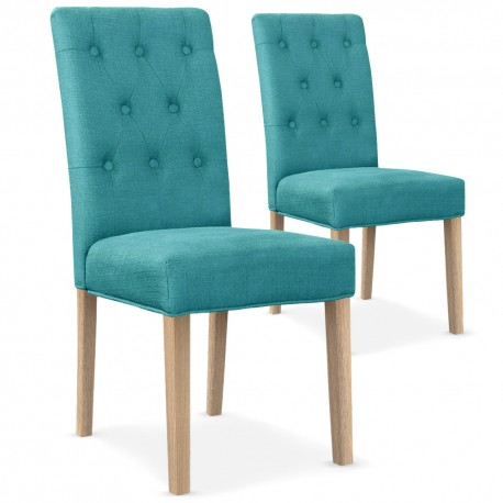 lot de 2 chaises bouton tissu bleu turquoise pas cher scandinave deco. Black Bedroom Furniture Sets. Home Design Ideas