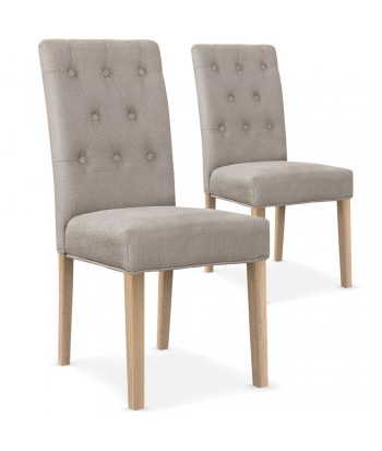 Lot de 2 chaises Bouton Tissu Beige pas cher