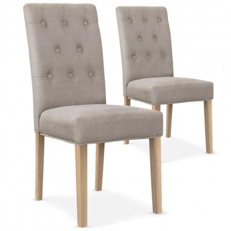 Lot de 2 chaises Bouton Tissu Beige
