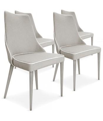 Lot de 4 chaises Scandinave Chic Tissu Beige liseré Blanc