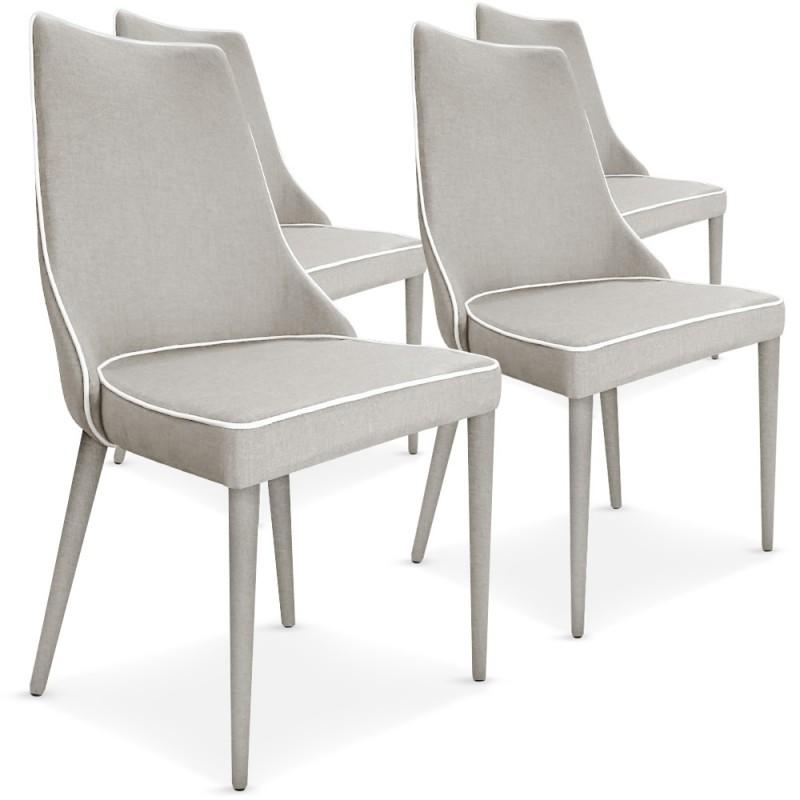 lot de 4 chaises scandinave chic tissu beige liser blanc. Black Bedroom Furniture Sets. Home Design Ideas