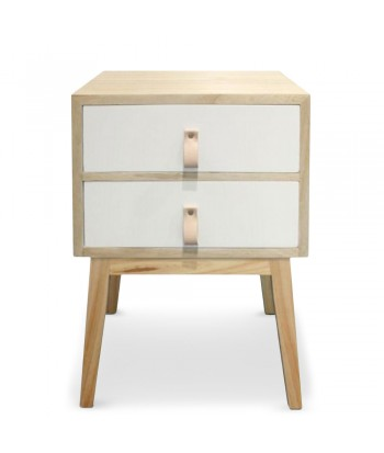 Table de chevet 2 tiroirs scandinave Blanc