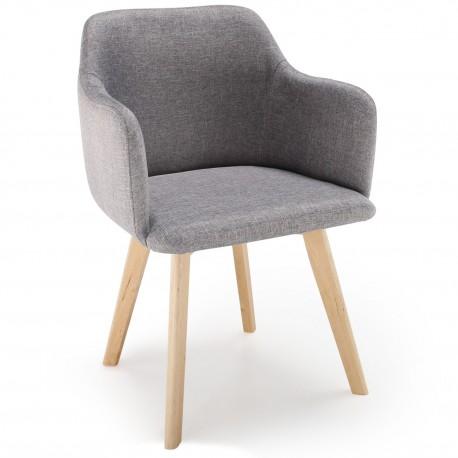 promo chaise scandinave design tissu gris - Chaise Scandinave Design