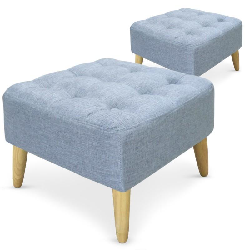 pouf carr s capitonn s tissu bleu lot de 2 pas cher scandinave deco. Black Bedroom Furniture Sets. Home Design Ideas