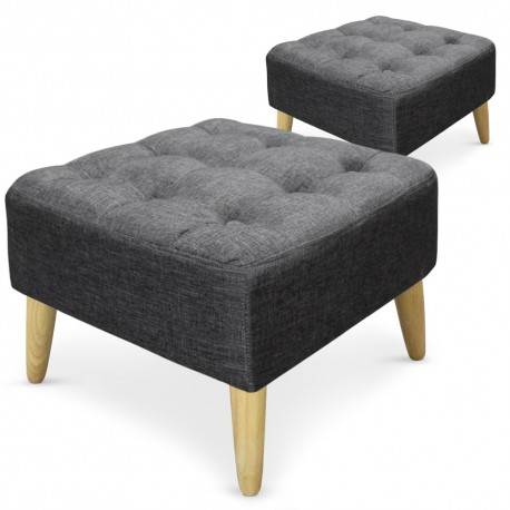 pouf carr s capitonn s tissu gris fonc lot de 2 pas cher scandinave deco. Black Bedroom Furniture Sets. Home Design Ideas