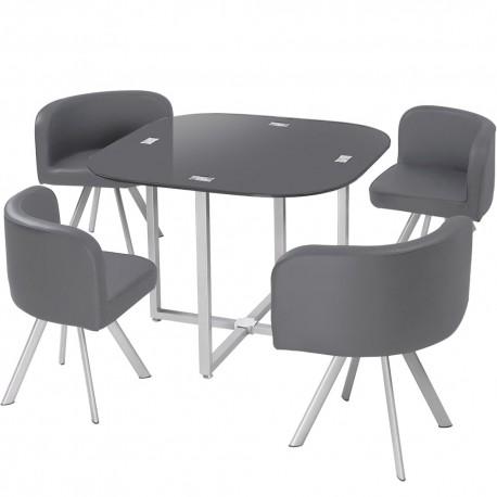 Table Scandinave et chaises Vintage 90 Gris pas cher