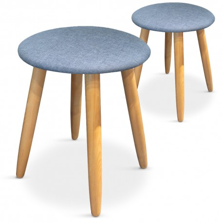 Lot de 2 tabourets style scandinave Barry Bleu