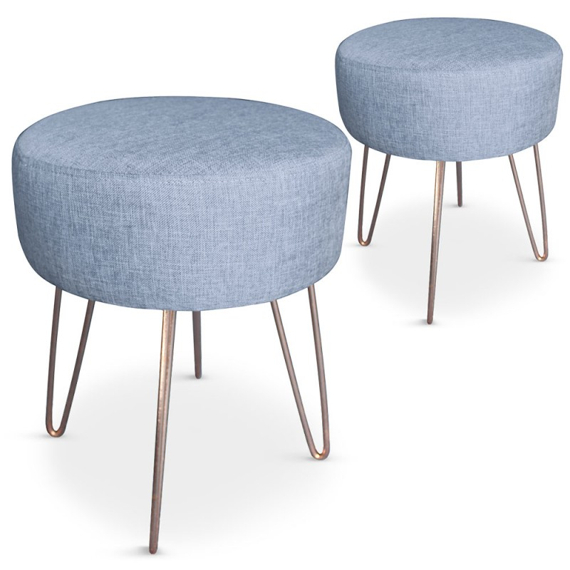 lot de 2 tabourets scandinave tissu bleu pas cher scandinave deco. Black Bedroom Furniture Sets. Home Design Ideas