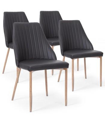 Lot de 4 chaises Anneke Noir