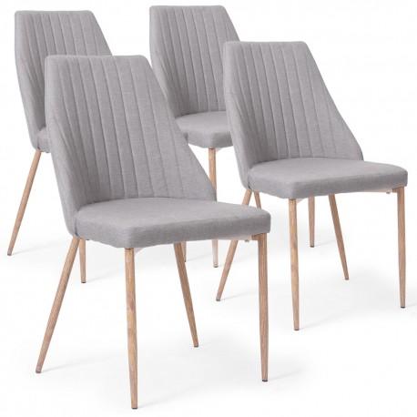Lot de 4 chaises Anneke Tissu Gris Clair pas cher