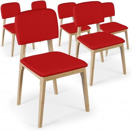 Chaises Scandinaves Klara Tissu Rouge - Lot de 6 pas cher
