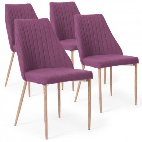 Lot de 4 chaises Anneke Tissu Violet pas cher