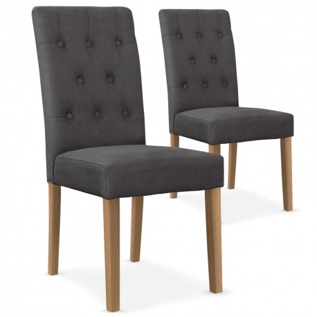 chaises scandinave cybele tissu gris lot de 2 pas cher scandinave deco. Black Bedroom Furniture Sets. Home Design Ideas
