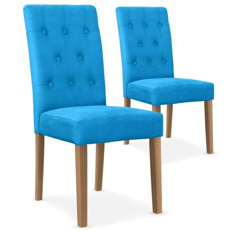 Chaises Scandinave Cybele Tissu Bleu - Lot de 2 pas cher