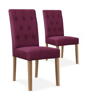 Chaises Scandinave Cybele Tissu Violet - Lot de 2 pas cher