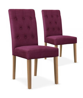 promo chaises scandinave cybele tissu violet lot de 2 - Chaise Scandinave Rose