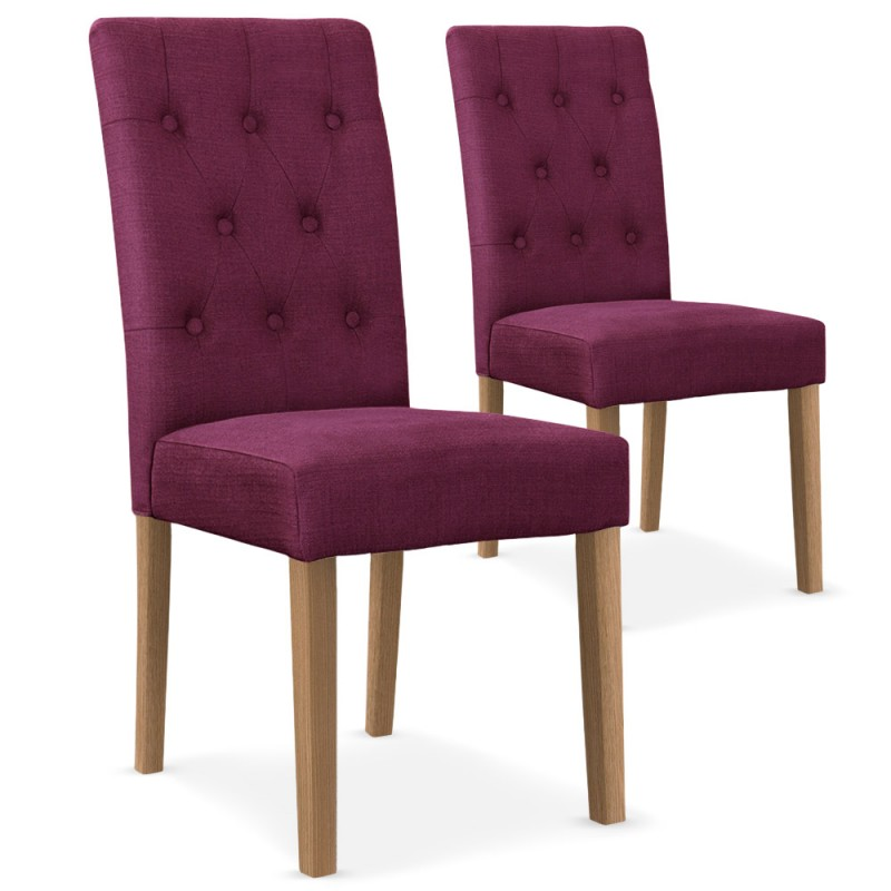 chaises scandinave cybele tissu violet lot de 2 pas cher. Black Bedroom Furniture Sets. Home Design Ideas