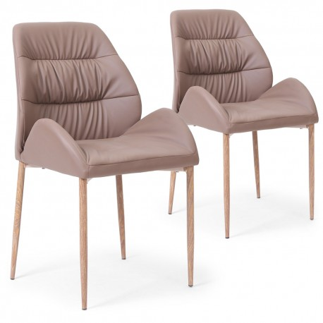 Chaises Scandinave Marta Taupe - Lot de 2