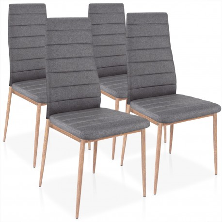 chaises scandinave elsa tissu gris fonc lot de 4 pas cher scandinave deco. Black Bedroom Furniture Sets. Home Design Ideas